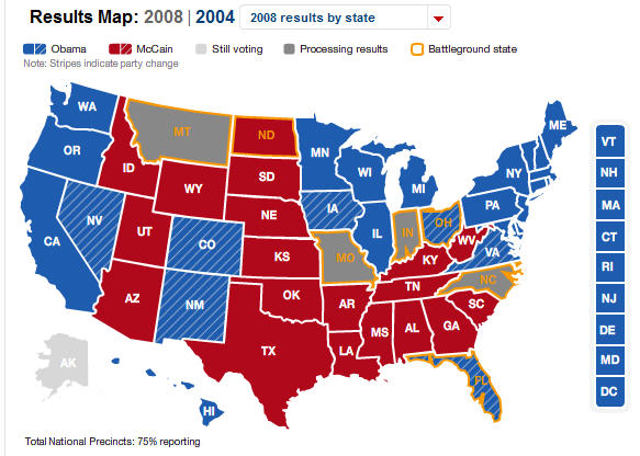 Presidential election map results – almost final