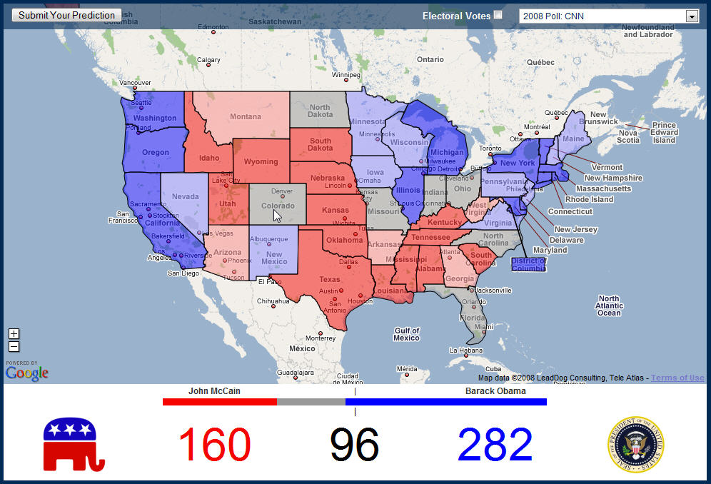 US Election Map from Google Maps