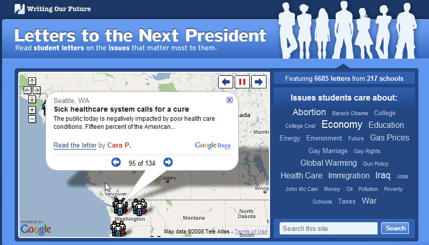 Letters To The Next President (Obama), Supported by Google Docs, google Maps