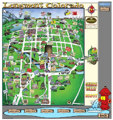 Cartoon Map from Longmont Colorado TimesCall