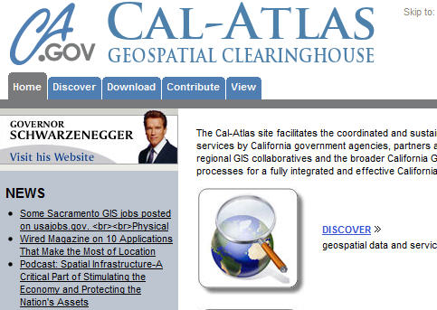 Governor Schwarzenegger and team roll out CalAtlas Geospatial Clearinghouse
