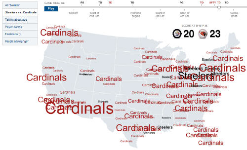 Super Bowl Twitter Chatter Map