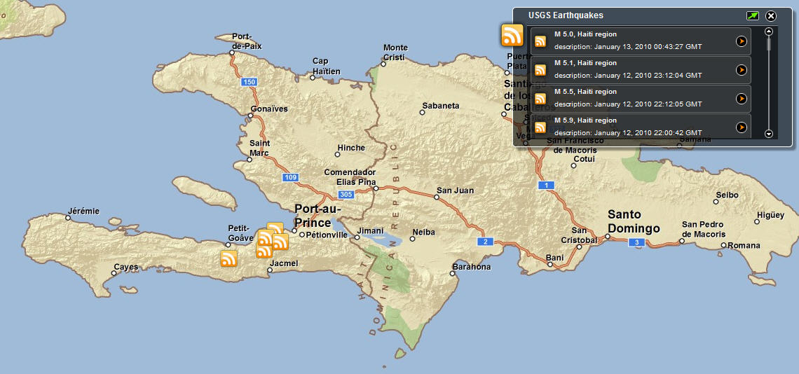 ESRI Flex Map Viewer Shows Haiti Earthquake Locations