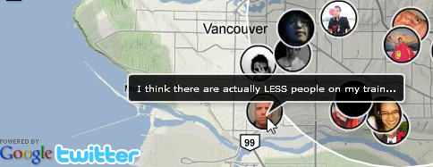 uMapper See People Tweeting from the Vancouver 2010 Olympics on a map