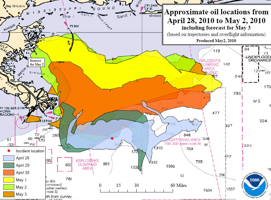 gulf of mexico oil spill trajectory map